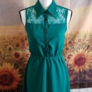 Cute Teal button up dress w/ Lace